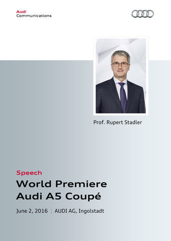 Speech at the World Premiere of the Audi A5 Coupé