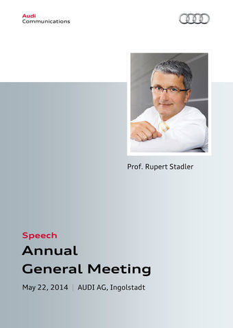 Speech at the Annual General Meeting AUDI AG 2014 Part 1