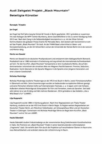 """Audi Zeitgeist Projekt """"Black Mountain"""" - Beteiligte Künstler"""