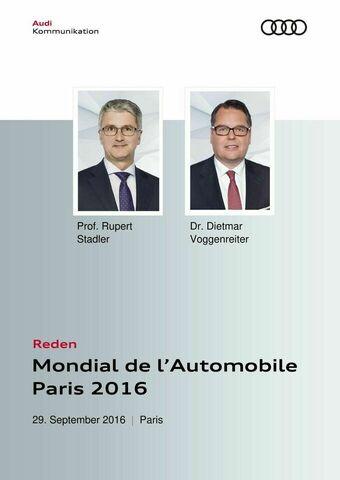 Reden Audi-Pressekonferenz Mondial de l'Automobile Paris 2016