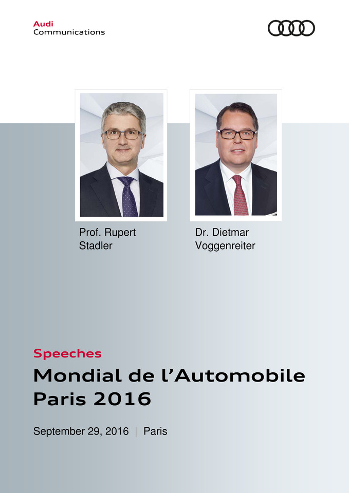 High res speeches audi press conference paris motor show rupert stadler dietmar voggenreiter