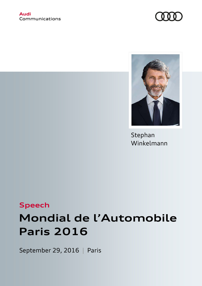 Speech Audi Press Conference Mondial de l'Automobile Paris 2016