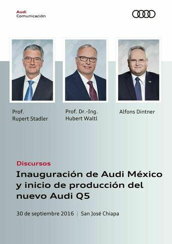 Discursos para la inauguración de Audi México y  el inicio de producción del nuevo Audi Q5