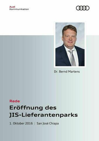 Rede zur Eröffnung des JIS-Lieferantenparks