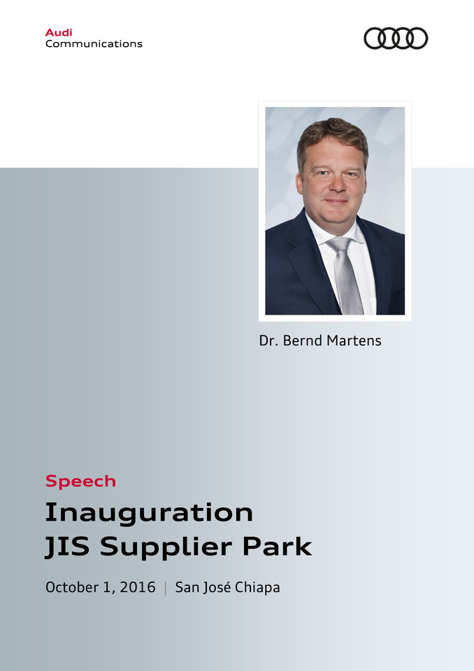 Speech at the Inauguration of the JIS Supplier Park