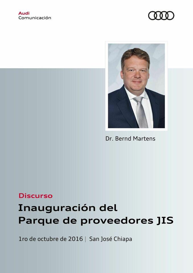 Discurso para la inauguración del Parque de proveedores JIS
