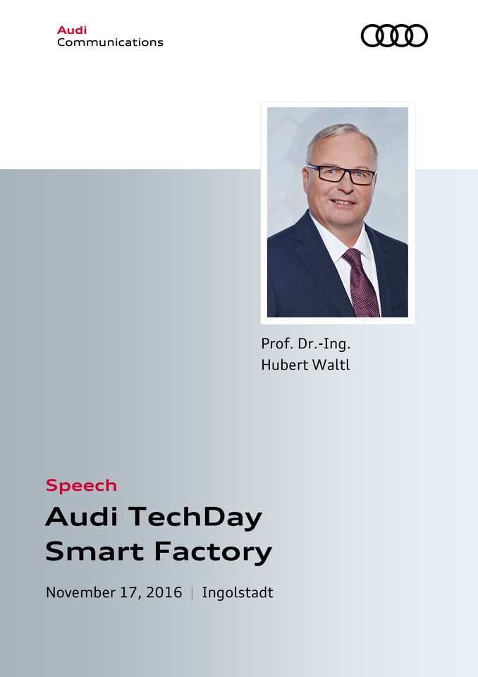 Speech at the Audi TechDay Smart Factory