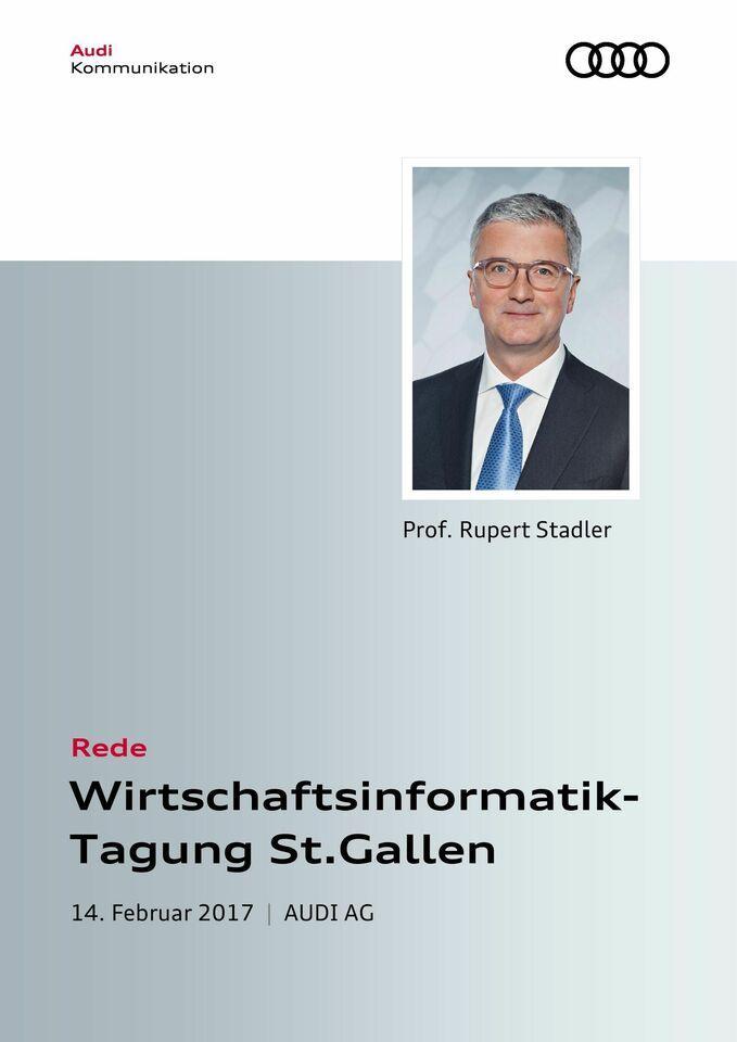 Rede anlässlich der Wirtschaftsinformatik-Tagung in St.Gallen
