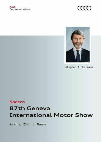 Speech Audi Sport Press Conference  Geneva International Motor Show 2017