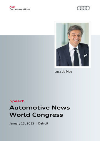 Speech at the Automotive News World Congress