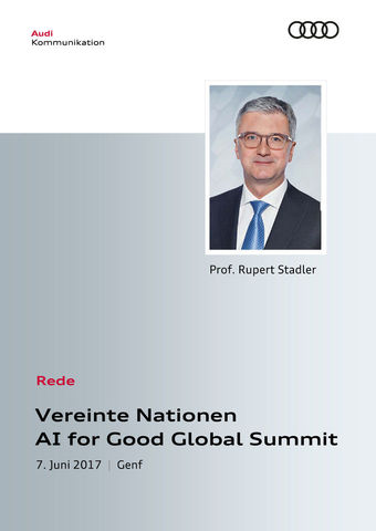 Rede zum Vereinte Nationen AI for Good Global Summit