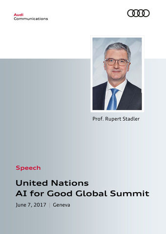 Speech at United Nations AI for Good Global Summit