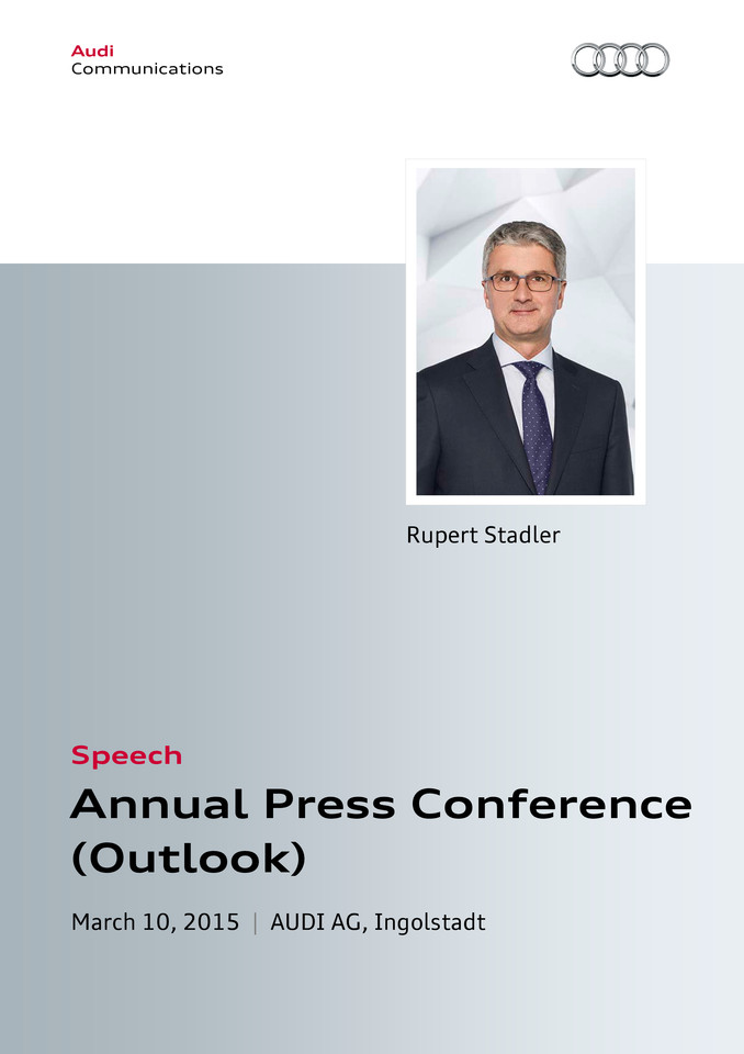 Speech to the Annual Press Conference 2015 - Outlook