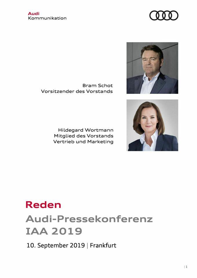 Reden Audi-Pressekonferenz IAA 2019