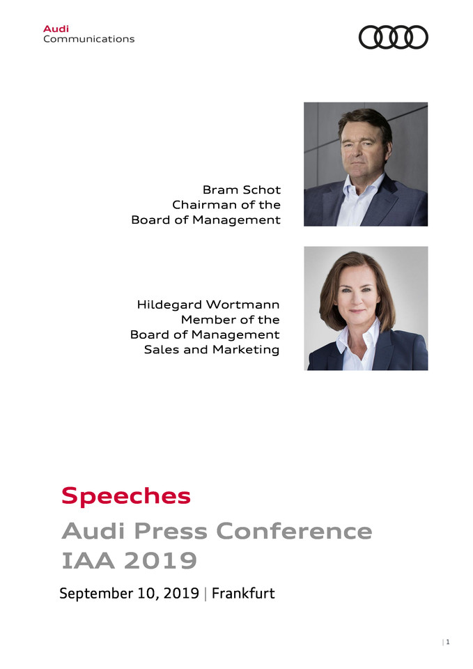 Speeches Audi Press Conference  IAA 2019