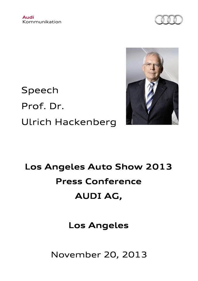 Speech Los Angeles Auto Show 2013 - Press Conference