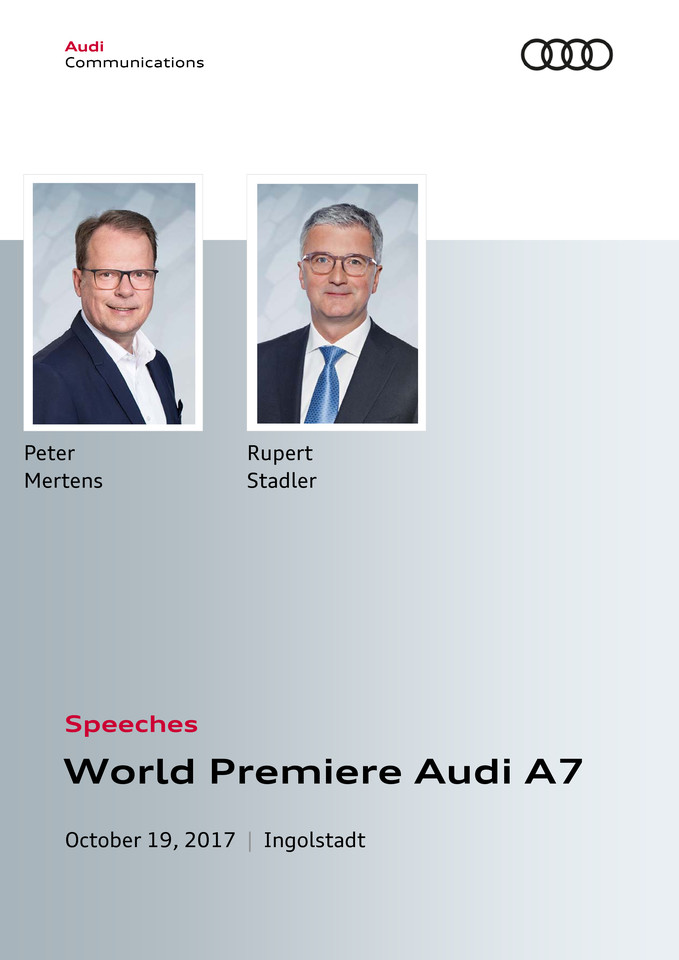 Speeches World Premiere Audi A7