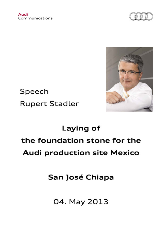 Speech Laying of the foundation stone for the Audi production site Mexico