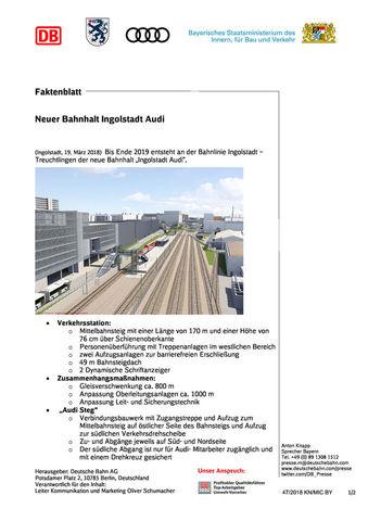 Faktenblatt - Neuer Bahnhalt Ingolstadt Audi