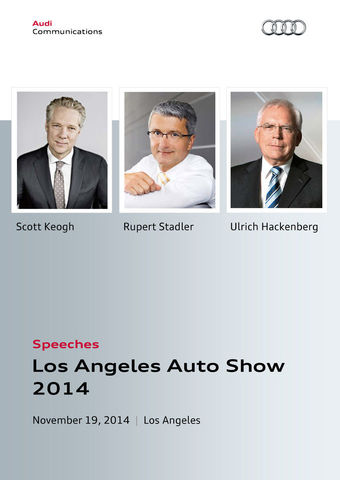 Speeches Audi Press Conference Los Angeles Auto Show 2014