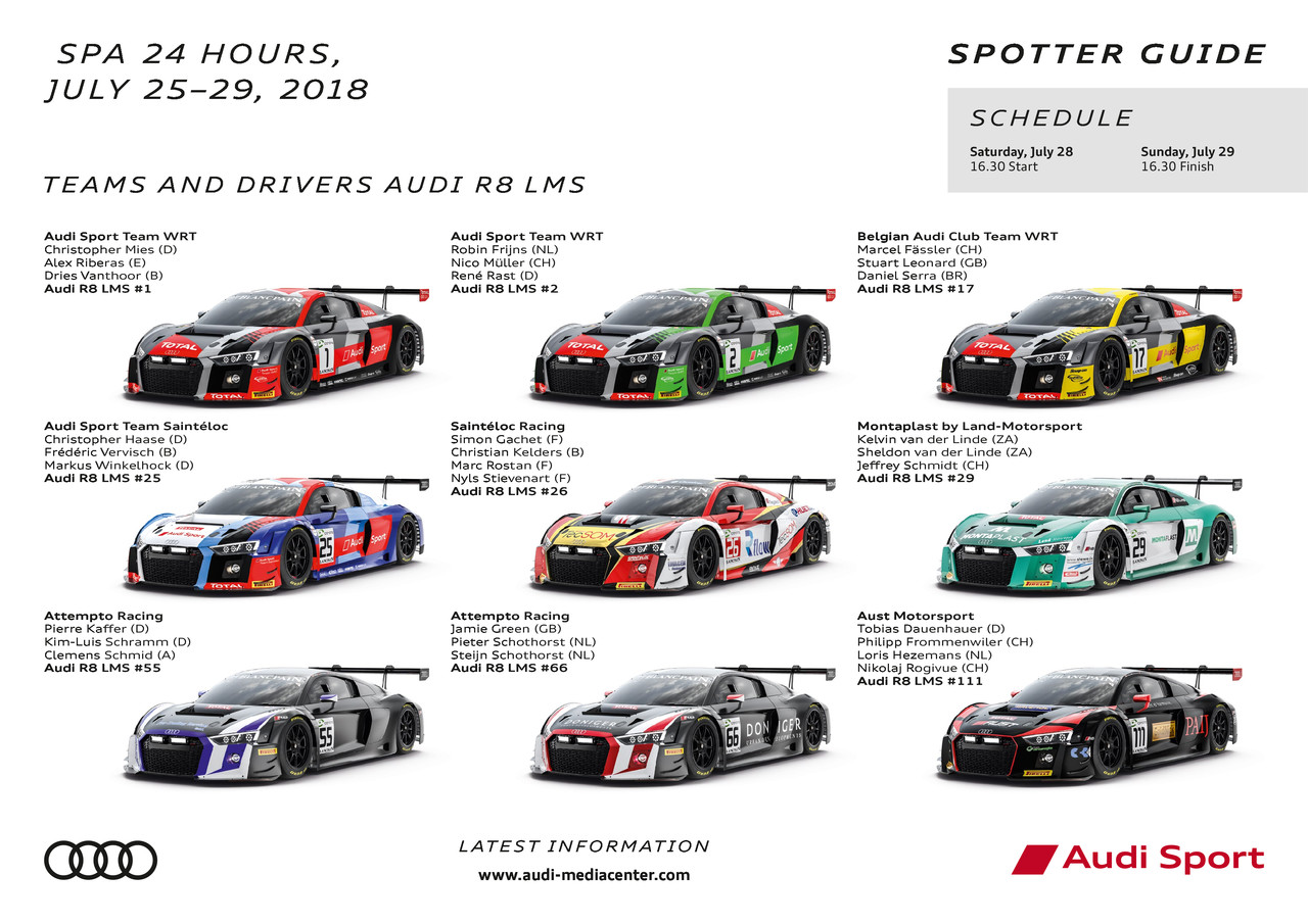 24h Spa 2018 Spotter Guide