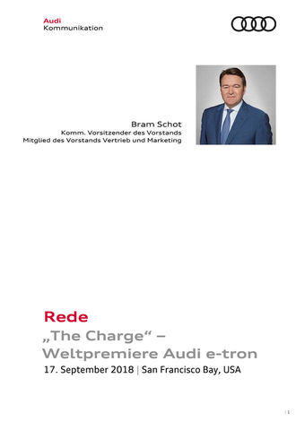 "Rede ""The Charge"" –  Weltpremiere Audi e-tron"