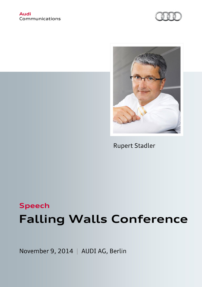Speech at the Falling Walls Conference