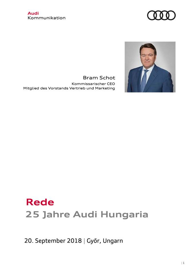 Rede 25 Jahre Audi Hungaria - Bram Schot