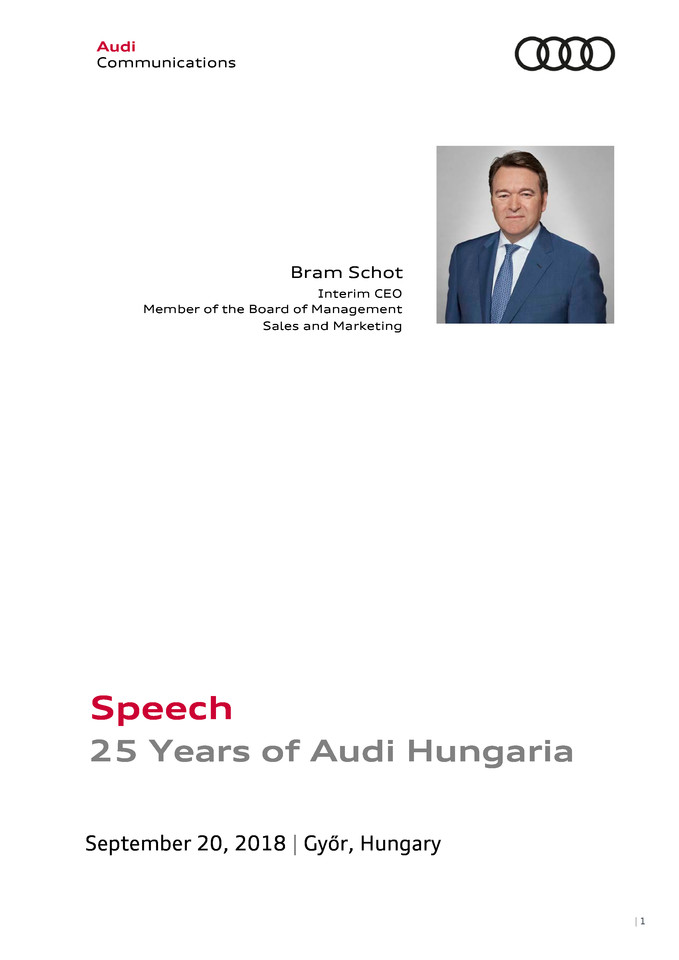 Speech 25 Years of Audi Hungaria - Bram Schot