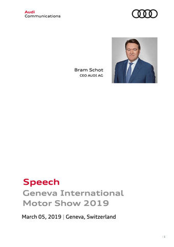 Speech Geneva International  Motor Show 2019