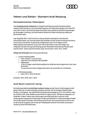 Fakten und Zahlen - Standort Audi Neuburg