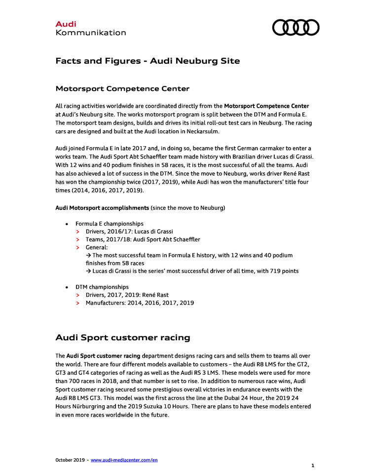 Facts and Figures - Audi Neuburg Site