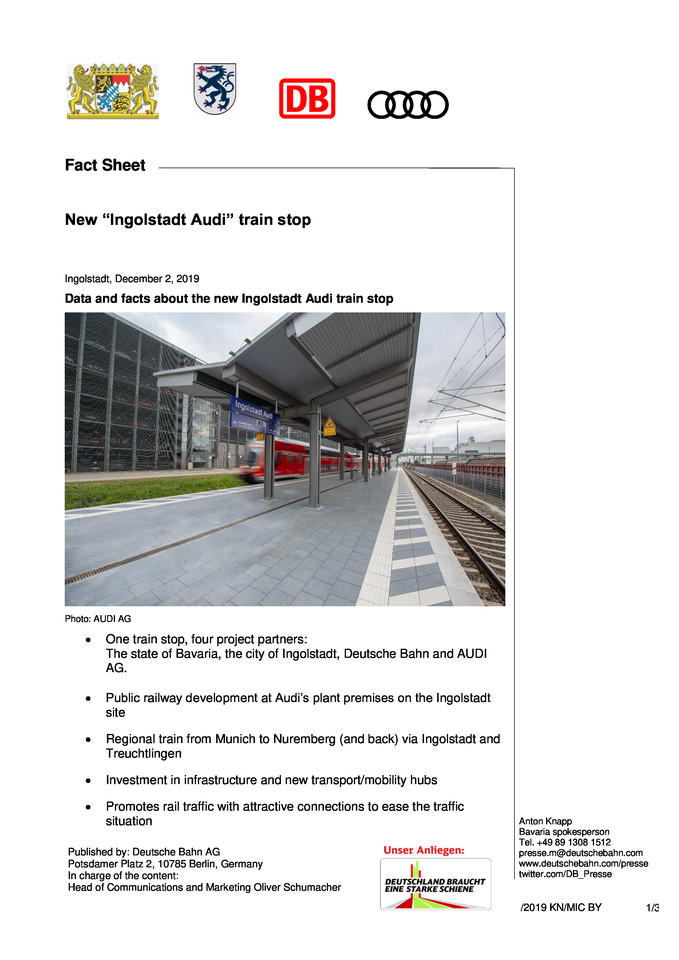"Fact Sheet  New ""Ingolstadt Audi"" train stop"