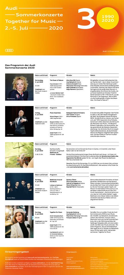 """Programm """"Together for Music"""" Audi Sommerkonzerte 2020"""