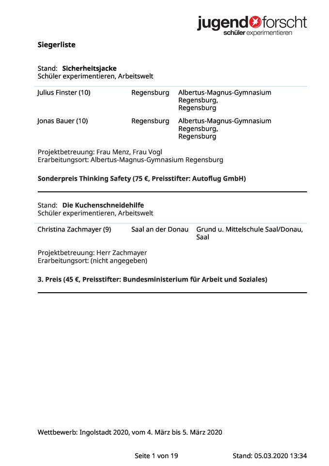 """""""Jugend forscht"""" – Siegerliste 2020"""