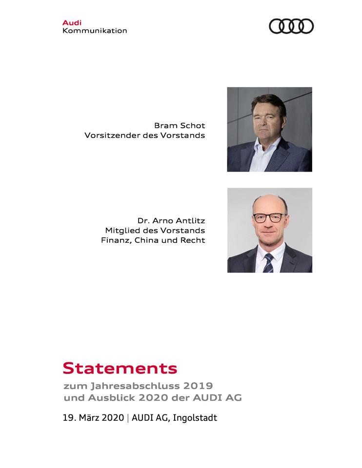 Statements zum Jahresabschluss 2019 und Ausblick 2020 der AUDI AG