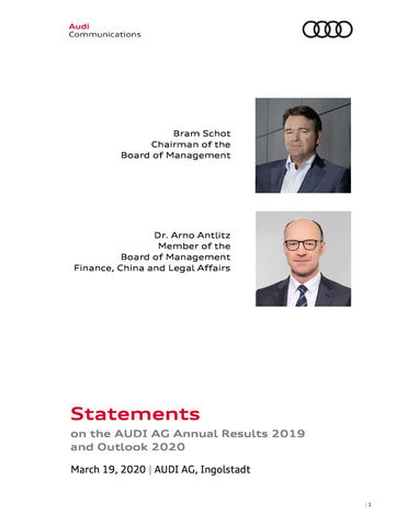 Statements on the AUDI AG Annual Results 2019 and Outlook 2020