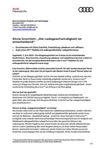 """Kurzinterview - Silvia Gramlich: """"Die Ladegeschwindigkeit ist entscheidend"""""""