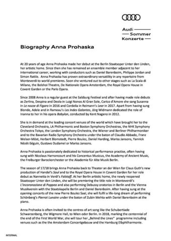 Biography Anna Prohaska
