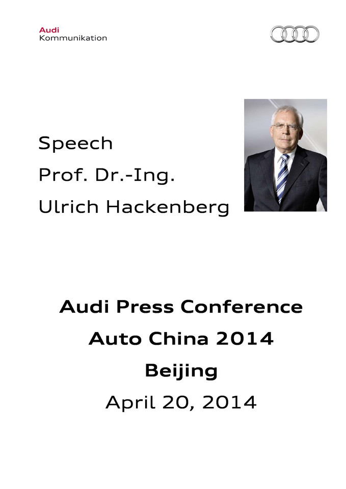 Speech at the Audi Press Conference Auto China 2014, Beijing