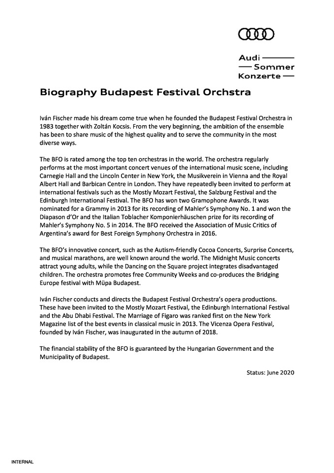 Biography Budapest Festival Orchstra