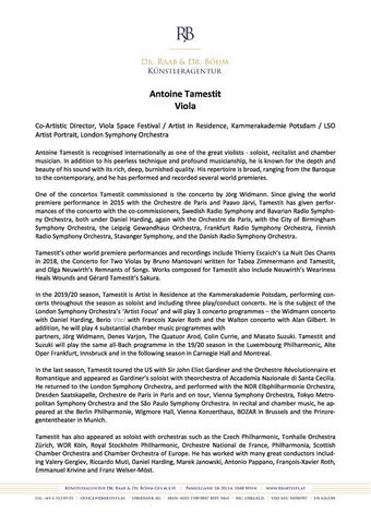 Biography Antoine Tamestit
