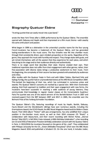 Biography Quatuor Ébène